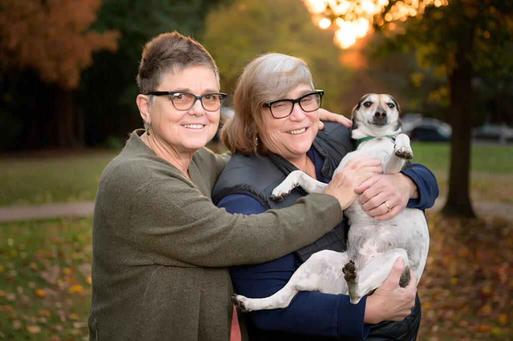 Mel, Jayne and dog Andie